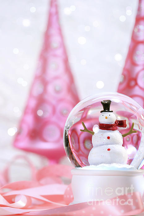 Background Photograph - Snow Globe With Pink  Trees by Sandra Cunningham