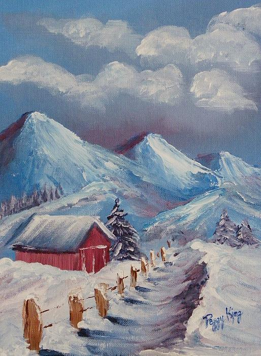 Mountain Scene Painting - Snow Path by Peggy King