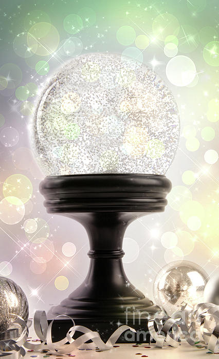 Background Photograph - Snowglobe With Ornaments Against Colored Background by Sandra Cunningham