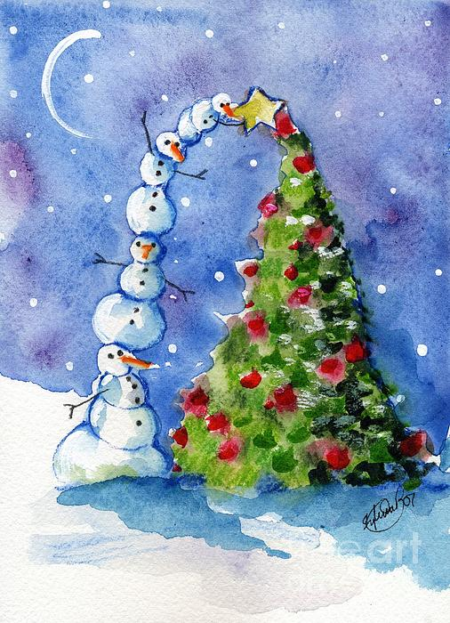Christmas Tree Painting - Snowman Christmas Tree by Sylvia Pimental