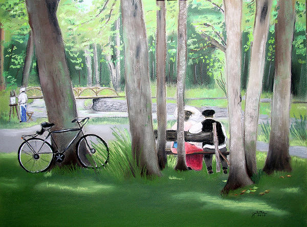 Drawings Painting - Solace In The Park by Barbara Gulotta