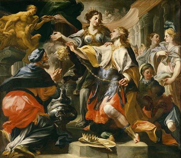 Solomon Painting - Solomon Worshiping The Pagan Gods by Domenico Antonio Vaccaro