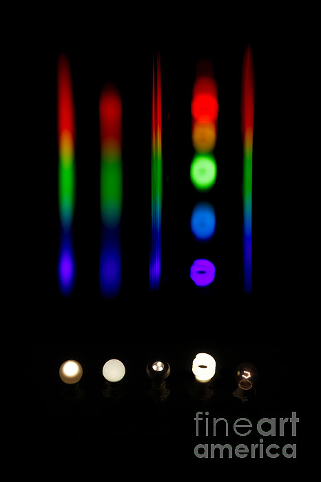 Atomic Photograph - Spectra Of Energy Efficient Lights by Ted Kinsman
