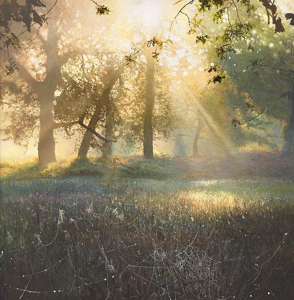 Sun Ray Painting - Spiders Diamonds by Helen Parsley