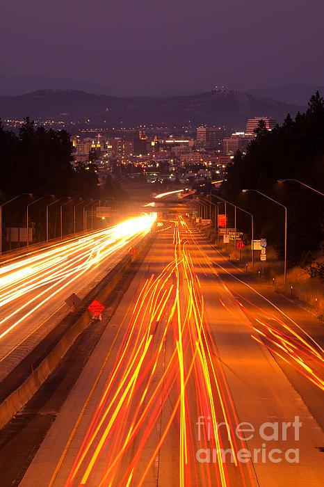 Spokane Photograph - Spokane At Night by Beve Brown-Clark Photography
