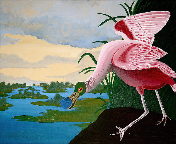 Spoonbill Painting - Spoonbill Reproduction by Amber Hennessey