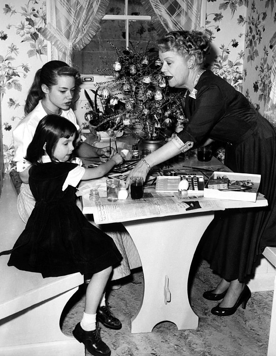1950s Photograph - Spring Byington Helps Grandaughters by Everett