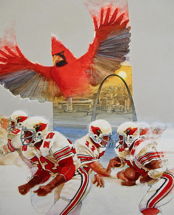 Acrylic Painting Painting - St Louis Cardinals1980 Game Day Cover And Media Guide Cover by Cliff Spohn