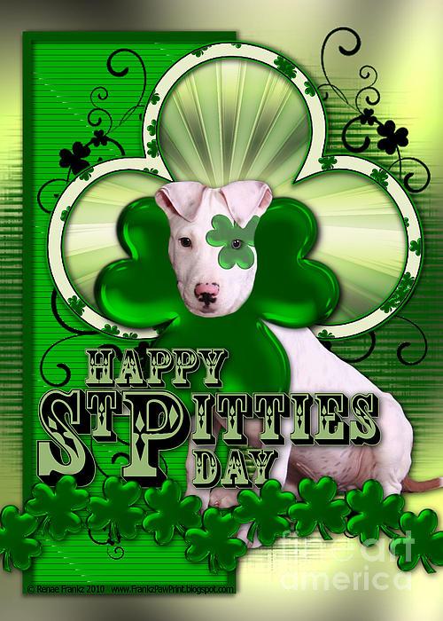 Pitbull Digital Art - St Patricks - Happy St Pitties Day by Renae Laughner