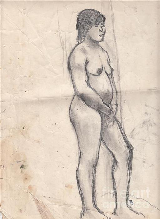 Girl Drawing - Standing Nude by Brian Francis Smith