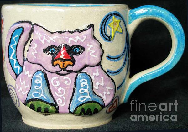 Cat Ceramic Art - Star Kitty Mug by Joyce Jackson