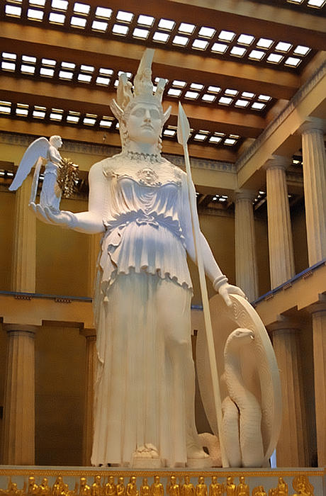 Greek Photograph - Statue Of Athena And Nike by Linda Phelps