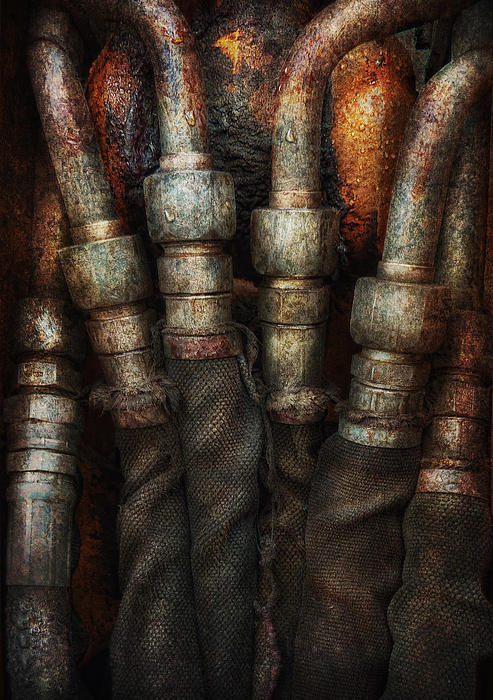 Hdr Photograph - Steampunk - Pipes by Mike Savad