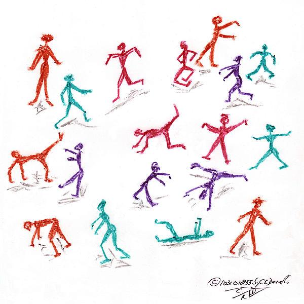 Stickmen Drawing - Stickmen October Two Thousand One by Carl Deaville