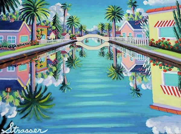 Venice Canals Painting - Still Waters by Frank Strasser