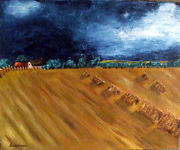 Stooks Painting - Stooks At Winkleigh by Sandy Wager