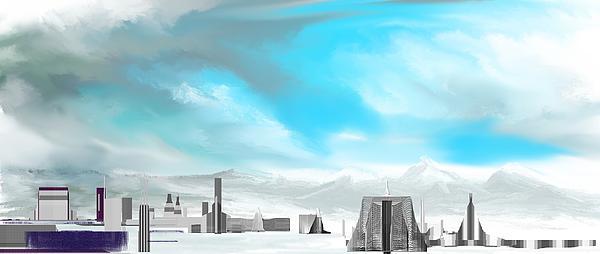 Fine Art Digital Art - Storm Approachs Strange City by David Lane
