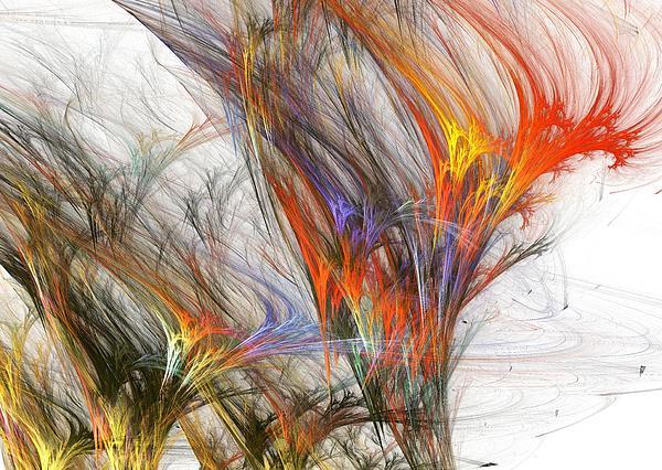 Trees Digital Art - Storm In Fractal-trees by Steve K
