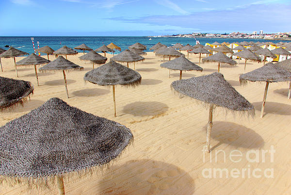 Beach Photograph - Straw Sunshades by Carlos Caetano