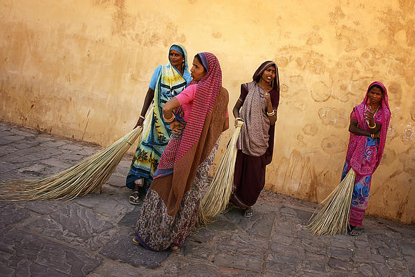 Amber Fort Photograph - Street Cleaners by Mostafa Moftah