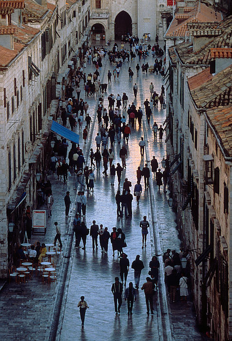 Pedestrians Photograph - Streets Of Dubrovnik by Carl Purcell