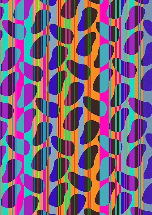 Stripe Beans (digital) By Louisa Knight (contemporary Artist) Digital Art - Stripe Beans by Louisa Knight