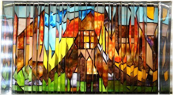 Cityscape Glass Art - Stroll Thru A Virtual City by Howard Mendelson