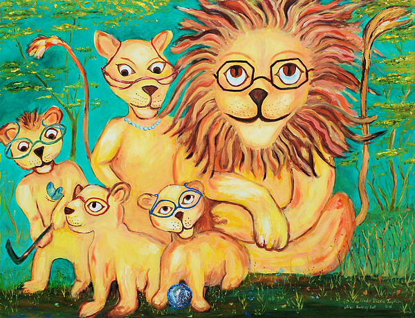 Lions Wearing Painting - Suddenly I See by Linda Diane Taylor