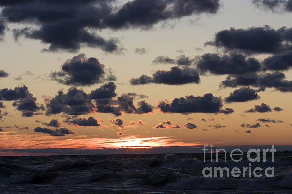 Horizontal Photograph - Sun Setting With Dramatic Clouds Over Lake Michigan by Christopher Purcell