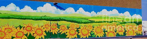 Sunflowers Painting - Sunflowers-exterior Mural by Jennifer Little