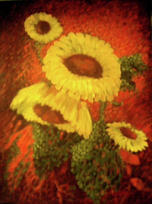 Flowers Painting - Sunflowers In The Morning by Victor Cuya