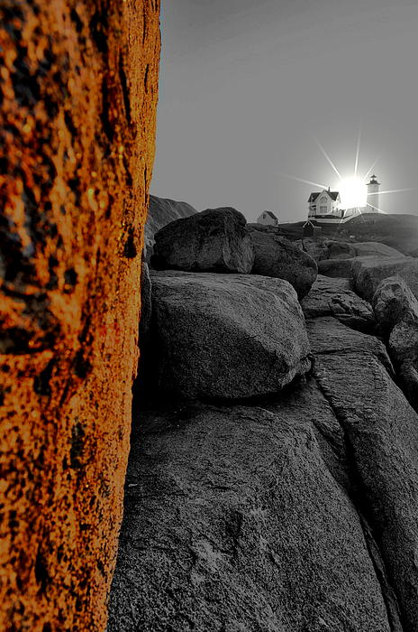 Nubble Lighthouse Photograph - Sunny Side Up by Emily Stauring
