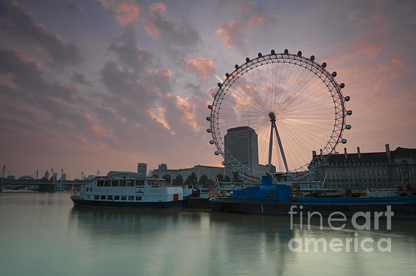 London Eye Photograph - Sunrise London Eye by Donald Davis