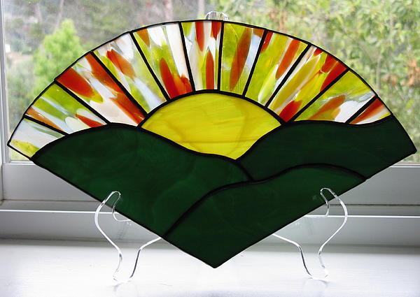 Sun Glass Art - Sunrise Sunset by Shelly Reid