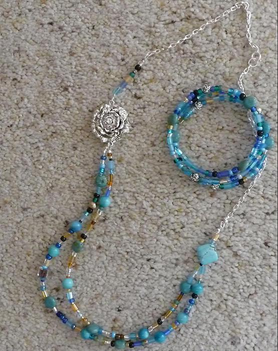 Necklace-bracelet Set. Jewelry - Sunset And Evening Star by Joan  Jones