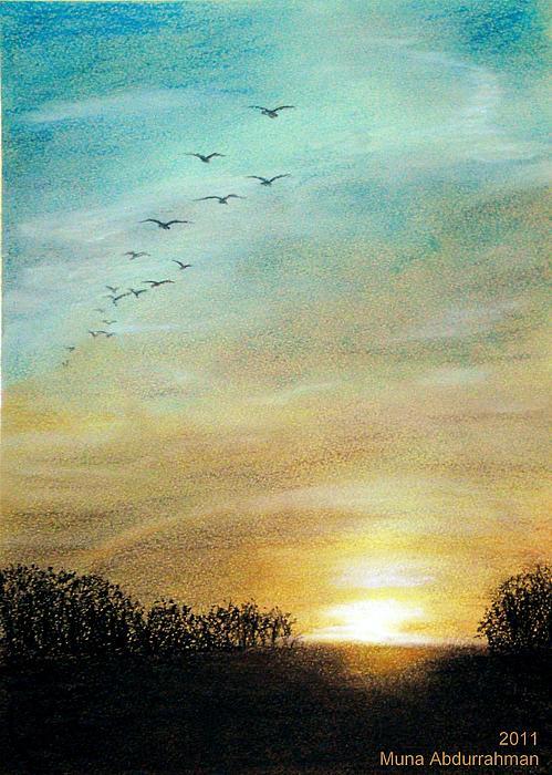 Pastel Painting - Sunset by Muna Abdurrahman