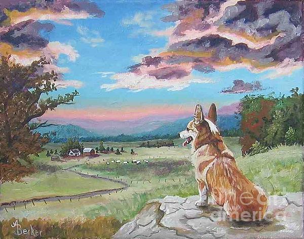 Dog Painting - Sunset On The Corgi Farm by Ann Becker