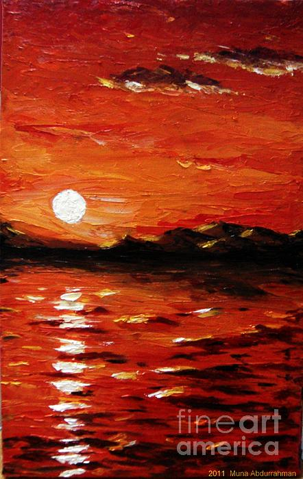 Sunset On The Sea Painting by Muna Abdurrahman