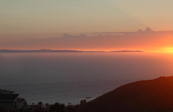 Catalina Island Mixed Media - Sunset Over Catalina by Russell Pierce