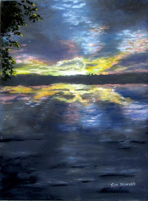 Sunset Painting - Sunset Over Mystic Lakes by Jack Skinner