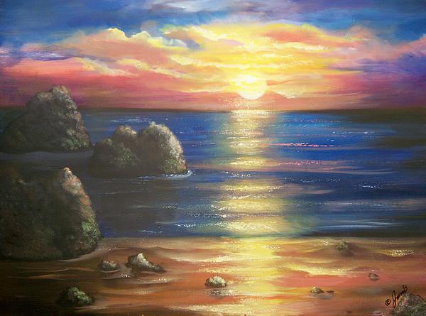 Sunset Painting - Sunset Seascape by Joni McPherson