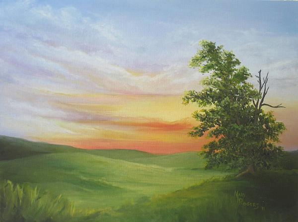 Landscape Painting - Sunset With A Tree by Mary Rogers