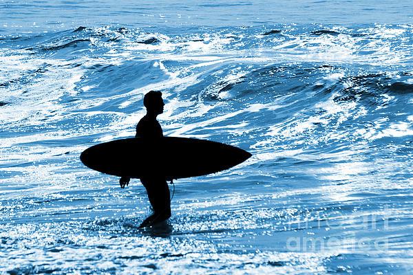 Blue Photograph - Surfer Silhouette by Carlos Caetano