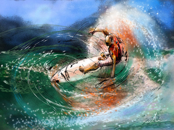 Sports Painting - Surfscape 03 by Miki De Goodaboom