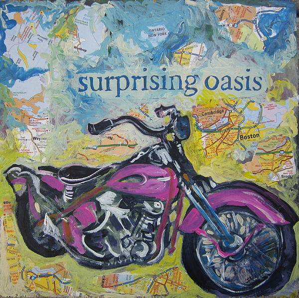 Motorcycle Painting - Surprising Oasis by Tilly Strauss
