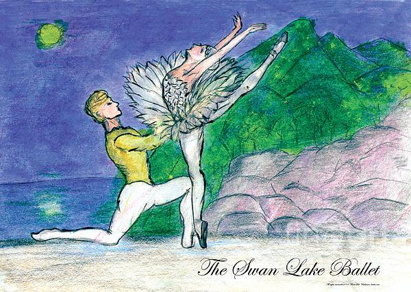 Ballet Dancers Mixed Media - Swan Lake Ballet by Marie Loh