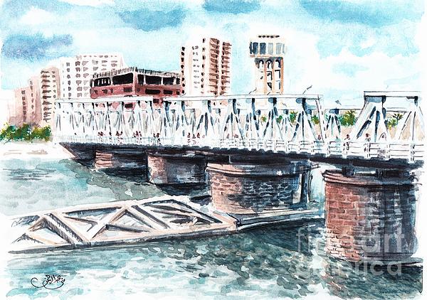Watercolor Painting - Talkha Bridge by Muna Abdurrahman