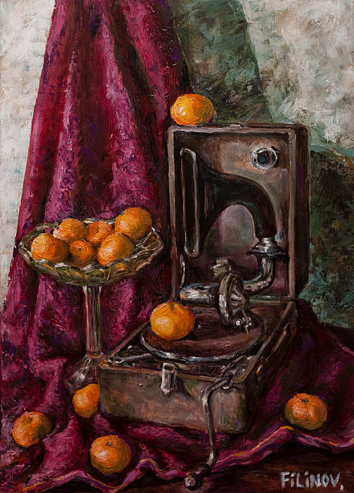 Tangerines Painting - Tangerines by Boris Filinov