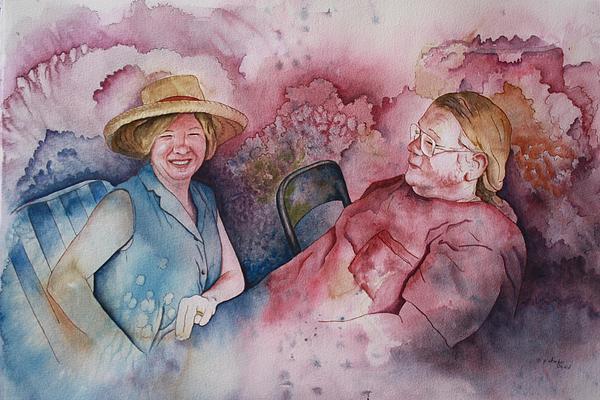 Taylor And Chuck At The Picnic Painting by Patsy Sharpe