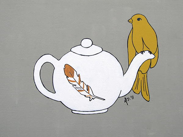 Bird Painting - Teapot Perch by Melanie Daily